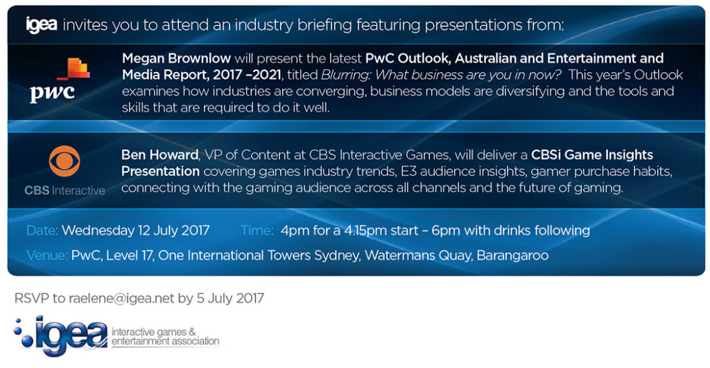 IGEA Industry Briefing featuring presentations from Megan