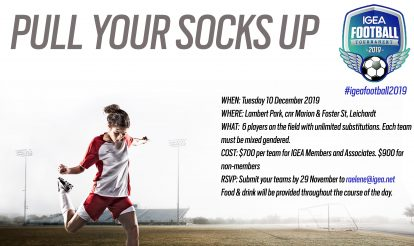 Pull your socks up and join us for the 2019 IGEA Football Tournament